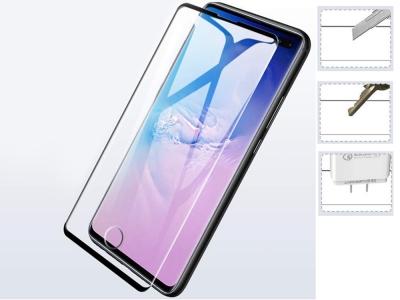 Стъклен Протектор Full Glue 5D за Samsung Galaxy S10 Plus (пръстов отпечатък), Черен
