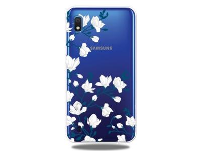 Силиконов Гръб за Samsung Galaxy A10, Бели цветя
