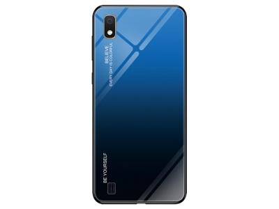 Стъклен Гръб Glass за Samsung Galaxy A10 / M10, Син/ Черен
