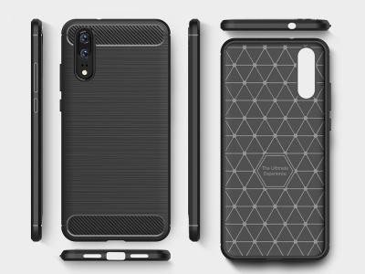 Силиконов гръб Carbon за Huawei P20, Черен