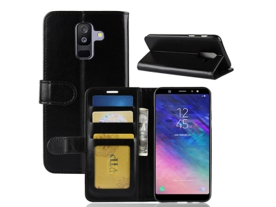 Калъф Тефтер Crazy Horse за Samsung Galaxy A6 Plus (2018) / A9 Star Lite, Черен