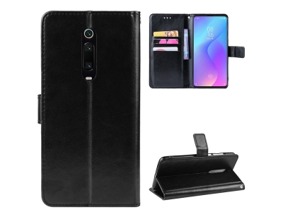 Калъф Тефтер Crazy Horse за Xiaomi Redmi K20 / Xiaomi Mi 9T / Xiaomi Redmi K20 Pro / Xiaomi Mi 9T Pro, Черен