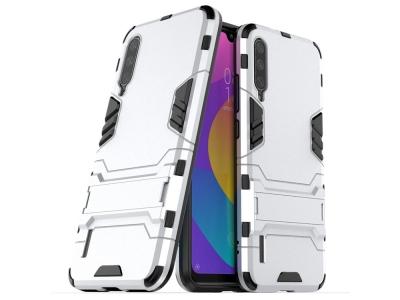Удароустойчив гръб с Поставка за Xiaomi Mi A3, Сребрист