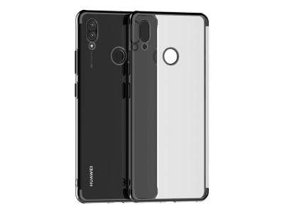 Силиконов гръб с лайсна CLEAR за Huawei Y7 (2019), Черен