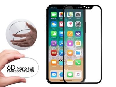 Удароустойчив Протектор 6D Nano Full за iPhone Xr/11 , Черен
