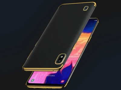 Силиконов гръб с лайсна CLEAR за Samsung Galaxy A10 / Samsung Galaxy M10, Златист