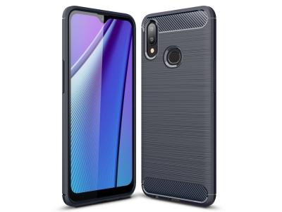 Силиконов гръб Carbon Fibre за Samsung Galaxy A10s, Тъмно син