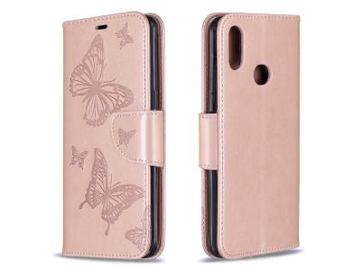 Калъф Тефтер за Samsung Galaxy A10s, Розов с пеперуди