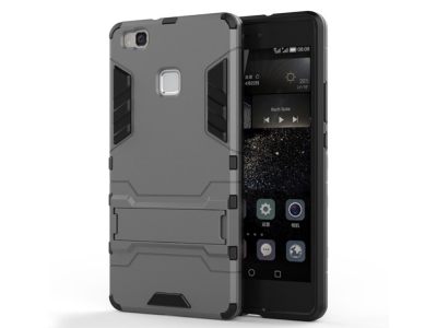 Удароустойчив гръб с Поставка за Huawei P9 lite, Сив
