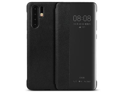 Калъф тефтер View Cover (ест. кожа) за Huawei P30 Pro, Черен