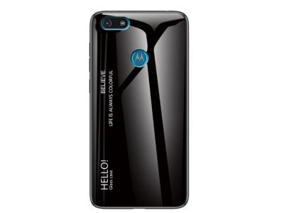 Стъклен Гръб Glass за Motorola Moto E6 Play , Черен