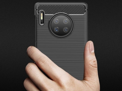 Силиконов гръб Carbon Fibre за Huawei Mate 30 Pro, Черен