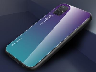 Стъклен гръб Glass за Samsung Galaxy A71, Лилав /Син