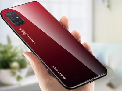 Стъклен гръб Glass за Samsung Galaxy A71, Червен /Черен