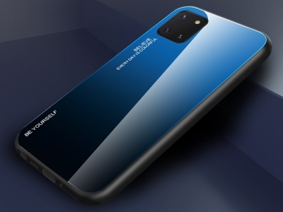 Стъклен Гръб Glass за Samsung Galaxy A81 / Note 10 lite, Син / Черен