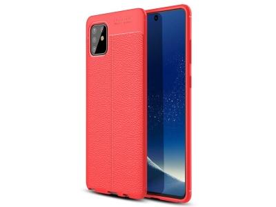 Силиконов гръб Litchi за Samsung Galaxy A81/Note 10 Lite, Червен