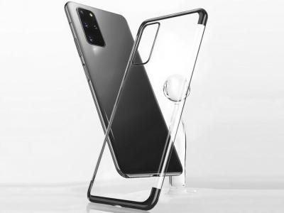 Силиконов гръб с лайсна CLEAR за Samsung Galaxy S20, Черен