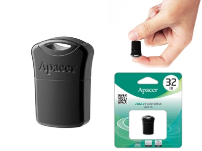 USB Flash памет 32GB APACER AH116 Super mini, Черен