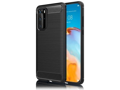 Силиконов гръб Carbon Fibre за Huawei P40, Черен