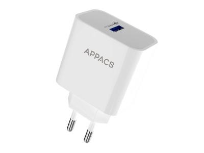 Зарядно 220V APPACS 1USB, QC 3.0, Бял