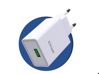 Зарядно 220V APPACS 2.4A 1USB, Бял