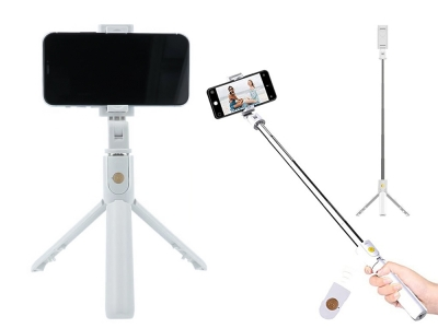 Селфи стик + трипод + Дистанционно, Bluetooth контрол k07, Бял