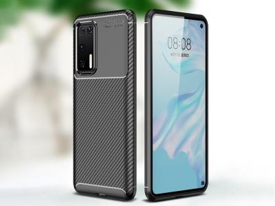 Силиконов гръб Beetle Carbon за Huawei P40, Черен