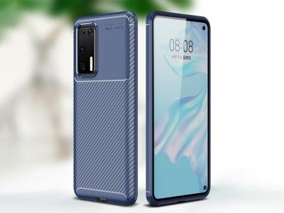 Силиконов гръб Beetle Carbon за Huawei P40, Син