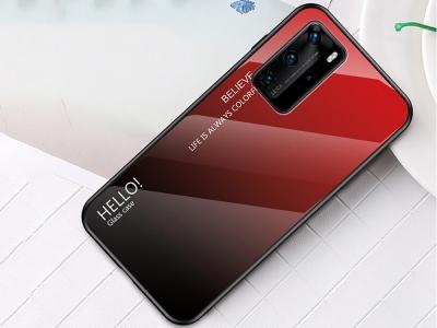 Стъклен Гръб Glass за Huawei P40 Pro, Червен/ Черен