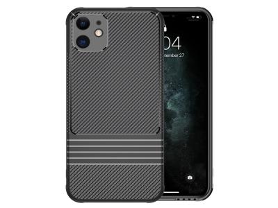 Силиконов гръб LEEU Carbon за iPhone 11, Черен