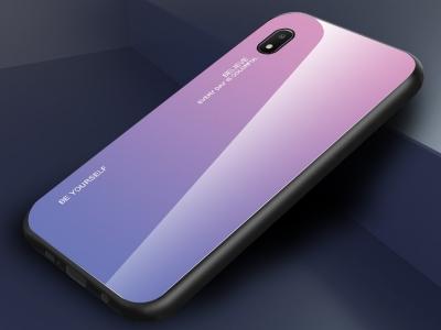 Стъклен гръб Glass за Samsung Galaxy A10e , Розов- Ливав