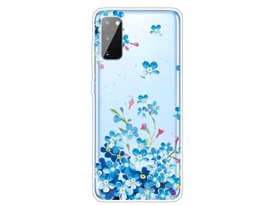 Силиконов гръб Samsung Galaxy A41, Сини цветя