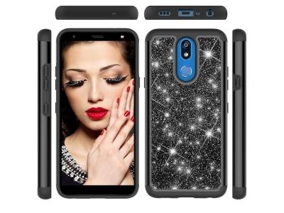 Удароустойчив Гръб Shiny Glittery за LG K40/K12+/K12 Plus, Черен