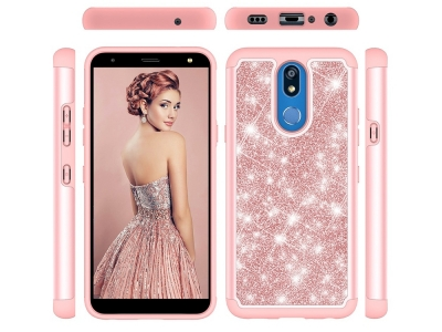 Удароустойчив Гръб Shiny Glittery за LG K40/K12+/K12 Plus, Розов