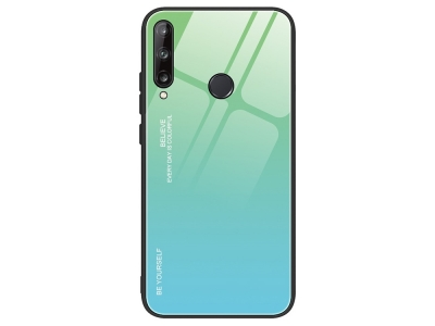 Стъклен гръб Glass за Huawei P40 Lite E/Y7P, Зелен- Син