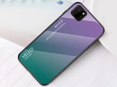 Стъклен гръб Glass за Huawei Y5p/Honor 9S, Лилав- Зелен