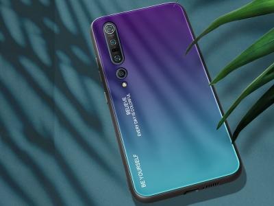 Стъклен гръб Glass за Xiaomi Mi 10 / Mi 10 Pro, Лилав- Син