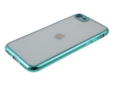 Силиконов гръб с лайстна CLEAR за iPhone 7 / 8 / SE 2020, Тюркоаз