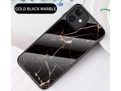 Стъклен гръб Glass за iPhone 12 Mini, Черен-Златист