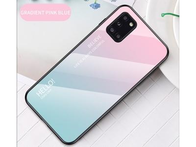 Стъклен гръб Glass за Samsung Galaxy A31,Розов- Циан