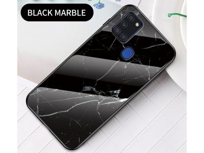 Стъклен гръб Glass за Samsung Galaxy A21S, Черен мрамор