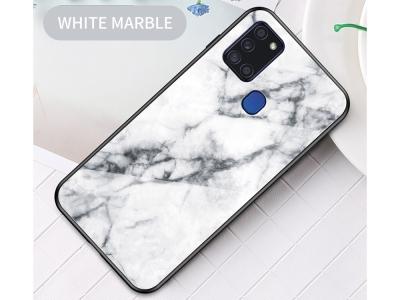 Стъклен гръб Glass за Samsung Galaxy A21S, Бял мрамор