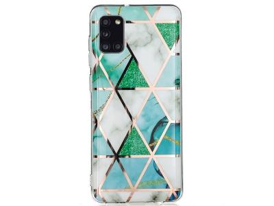 Силиконов Гръб Marble Skin за Samsung Galaxy A31, Бял-Зелен