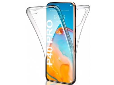 360 градуса силиконов калъф за Huawei P40 Pro, Прозрачен