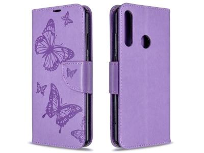 Калъф Тефтер Butterfly за Huawei Y6p, Лилав