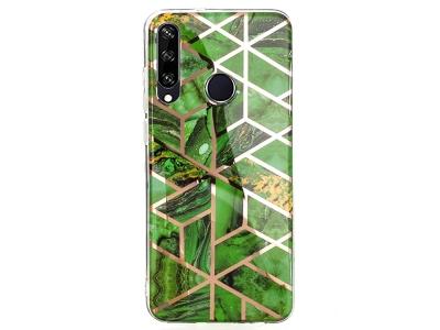 Силиконов Гръб Marble Skin за Huawei Y6p, Зелен