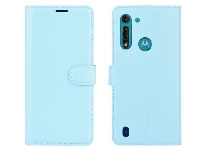 Калъф Тефтер Litchi за Motorola Moto G8 Power Lite, Син