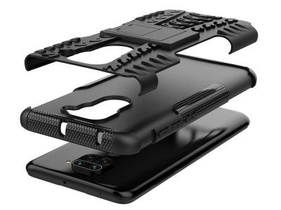 Удароустойчив гръб с поставка Hybrid за Xiaomi Redmi Note 9, Черен