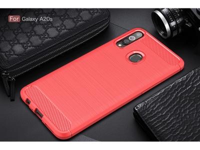 Силиконов Калъф Carbon за Samsung Galaxy A20s, Червен
