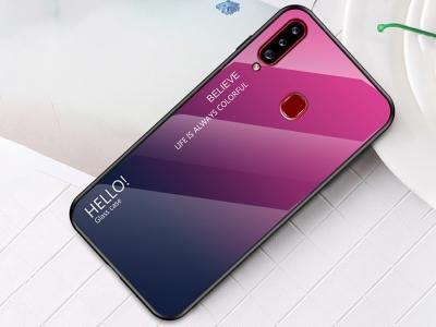 Стъклен Гръб Glass за Samsung Galaxy A20s, Розов/ Тъмно син